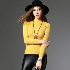 Y:Q - Long Sleeve Rib-Knit Top