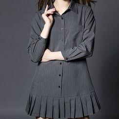 Merald - Pinstriped Pleated Shirtdress