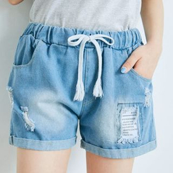 BAIMOMO - Distressed Drawstring Denim Shorts
