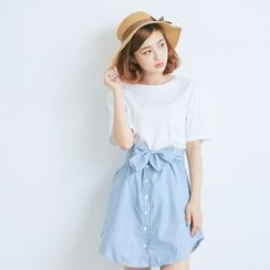 BAIMOMO - Set: Plain Short-Sleeve T-Shirt + Stripe Buttoned Skirt