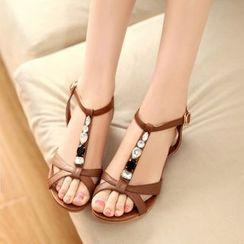 Pastel Pairs - Rhinestone Wedge Sandals