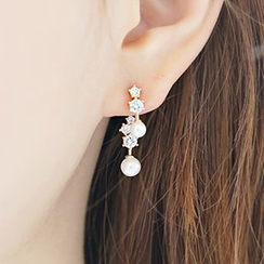 maxine - Asymmetric Rhinestone & Faux Pearl Drop Earrings