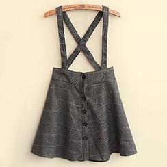 Mocha - Striped Button Down Suspender Skirt