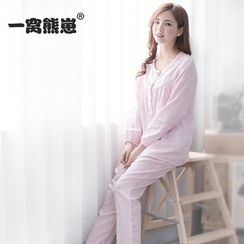 Mother Bear - Maternity Loungewear Set: Lace Trim Nursing Top + Pants