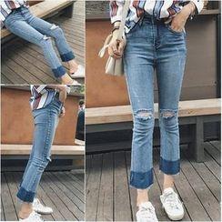 Jeans Kingdom - Boot Cut Ripped Jeans