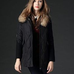 Mythmax - Furry-Trim Zip-Accent Padded Coat