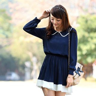 59 Seconds - Peter Pan Collar Chiffon Dress