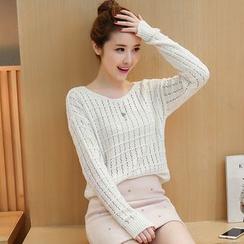 Rosehedge - Set: Open Knit Sweater + Rhinestone Skirt