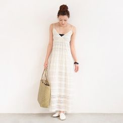 SO Central - Wrap Front Lace Maxi Dress
