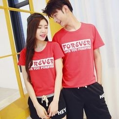 Azure - Couple Matching Set: Lettering  T-Shirt + Shorts