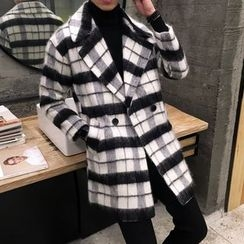 NAPO - Check Wool Blend Coat