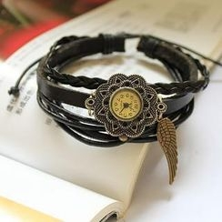 Miss Girl - Genuine-Leather Wing-Charm Strap Watch