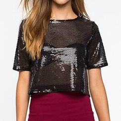 Richcoco - Glittered Short Sleeve Cropped Top