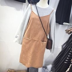 Eva Fashion - Faux Suede Jumper Skirt