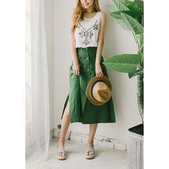 GOROKE - Linen Blend Button-Detail Midi Skirt