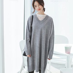 mimi&didi - V-Neck Loose-Fit Knit Dress
