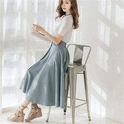 Attrangs - Buttoned A-Line Maxi Skirt
