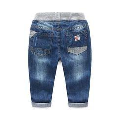 贝壳童装 - 儿童仿旧抽绳牛仔裤