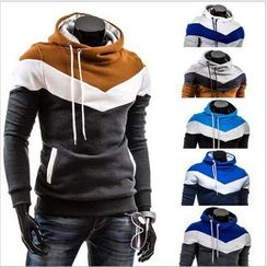 Free Shop - Color Block Hooded Pullover