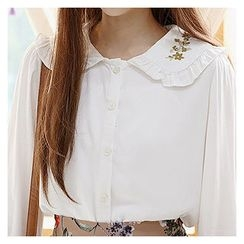 Sechuna - Sailor-Collar Embroidered Blouse