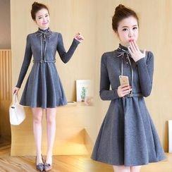 Ekim - Long-Sleeve A-Line Woolen Dress