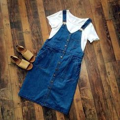 Rosadame - Button-front Denim Pinafore