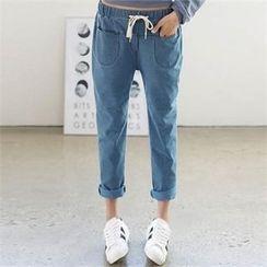 CHICFOX - Band-Waist Dual-Pocket Pants