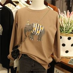 Elfina - Elephant Print Long-Sleeve T-Shirt