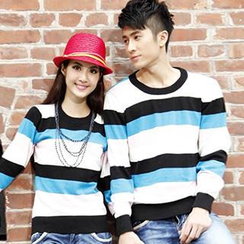 Igsoo - Couple Long-Sleeve Striped T-Shirt
