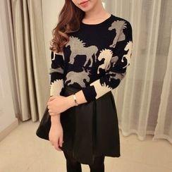 Tulander - Horse Print Collared Sweater