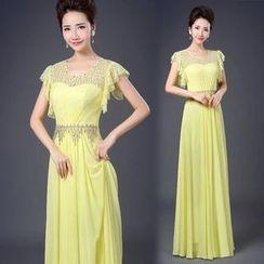 Bridal Workshop - Ruffle-Sleeve Sheath Evening Gown