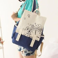 Canvas Love - Print Double Buckle Canvas Backpack