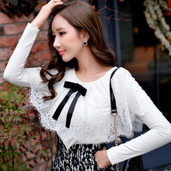 Dabuwawa - Long-Sleeve Lace-Panel Bow-Accent Top