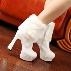 YOUIN - Faux-Fur Panel Ankle Boots