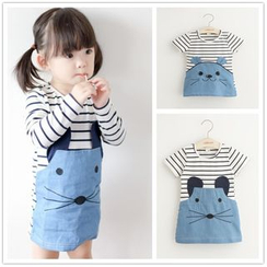 Cuckoo - Kids Striped Animal Applique Long Sleeve / Short Sleeve Dress