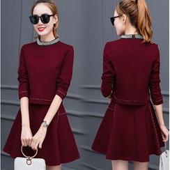 Eighoo - 套裝: 綴飾長袖上衣 + A字短裙