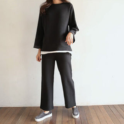 Hello sweety - Set: Raglan-Sleeve Layered-Hem Top + Sweatpants