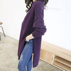 MARSHMALLOW - Drop-Shoulder Slit-Side Knit Dress