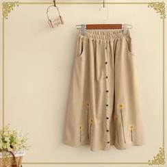 Fairyland - Embroidered Button Up Midi Skirt