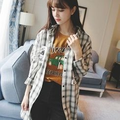 微米家 - 格子长款衬衫