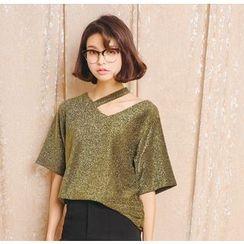 Porta - Short-Sleeve V-Neck Glitter T-Shirt