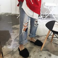 DISCOSALON - Distressed Wide-Leg Jeans