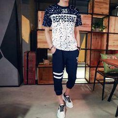 丹傑仕 - 套裝: 插色字母T裇 + 運動短褲
