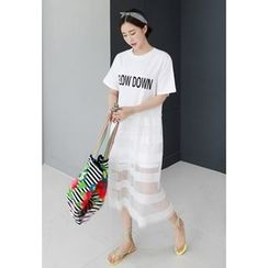 Miamasvin - Short-Sleeve Mesh-Overlay Lettering Long Dress