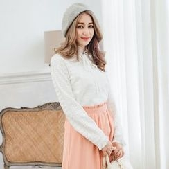 Tokyo Fashion - Long-Sleeve Tie-Neck Lace Top