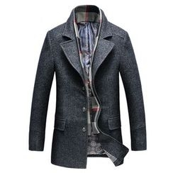 Best Gang - Notch Lapel Single-Breasted Coat with Plaid Scarf