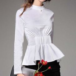 Kotiro - Long-Sleeve Peplum Top