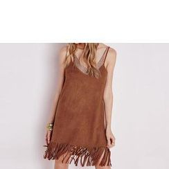 Richcoco - Fringed V-Neck Strappy Dress