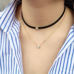 Pop Lop - Rhinestone Layered Choker