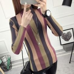 anzoveve - Striped Mock Neck Sweater
